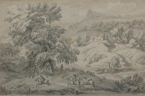 bandits ambushing a coach horsemen in a pastoral landscape 2 works by dirk maes