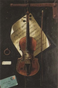 trompe l'oeil, still life with violin by w.g. becker