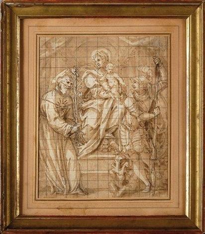 vierge à lenfant avec saint joseph et saint longinus by giulio benso