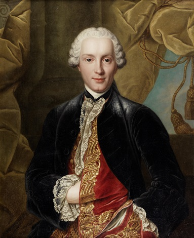 portrait of a gentleman half length in a blue velvet coat and red embroidered waistcoat by louis tocqué