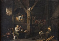 interieur de taverne (after tenier) by flemish school