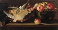 apples in a basket with a dead duck in an earthenware bowl on a wooden ledge by cornelis jacobsz. delff