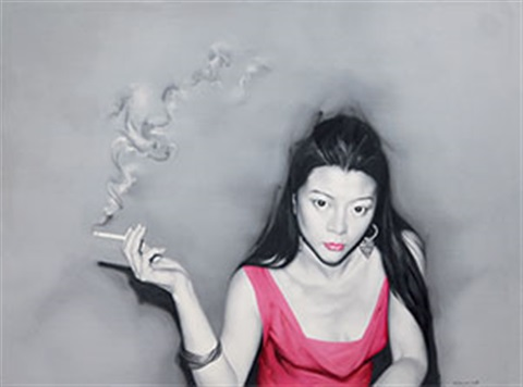 吸烟的女孩 smoking girl by he sen