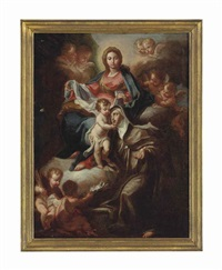 the madonna and child with saint catherine of siena, surrounded by putti by carlo maratta