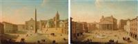 roma, piazza del popolo (+ roma, veduta di piazza del pantheon; 2 works) by giacomo van (monsù studio) lint