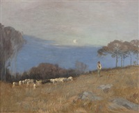 shepherd in a california landscape by carl oscar borg