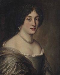 portrait of erminia santacroce lancellotti (1647-1706), bust-length, in a lace-trimmed oyster dress with pearl earrings and necklace, and a bejewelled head-dress by jakob ferdinand voet