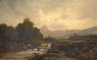 paysanne sur le pont au dessus du torrent by nicolas-victor fonville