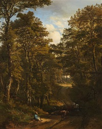 a woodland road with rider and cows by jules andré