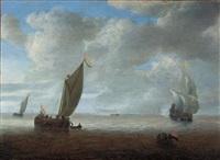 dutch coastal vessels in a light breeze, a man of war firing a salute beyond by hendrick van anthonissen