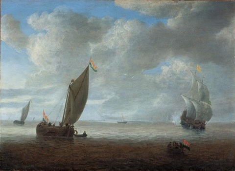 dutch coastal vessels in a light breeze a man of war firing a salute beyond by hendrick van anthonissen