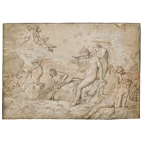 thetis attended by nereids (+ the interior of a cupola and a nude figure, study; double-sided) by pierre brebiette