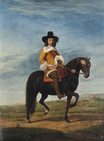 equestrian portrait of a gentleman full length with a hound and an extensive landscape beyond by adriaen van de velde