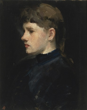 portrait of a lady head of a girl by frank duveneck