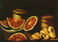 still life of watermelon and mushrooms with two barrels all on a table by salvator gutierrez
