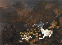 three hounds beside a group of dead birds with peaches, apples, pears, and an earthenware dish in a landscape by jan van kessel