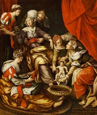 elisabeth with the new-born john the baptist surrounded by unmarried ladies of noble rank by anonymous-italian (17)