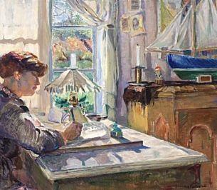 skrivende kvinne by bernhard d folkestad