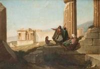 vue du temple d'erechthéion à travers la colonnade du parthénon by peter heinrich lambert von hess