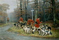 ecoutant les chiens d'attaque, probablement en foret de fontainebleau by jules bertrand gélibert