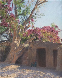 egyptien sous un bougainvillier by ludwig deutsch