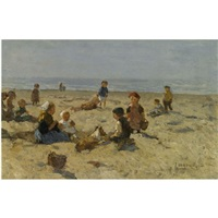 children playing on the beach by johannes evert hendrik akkeringa