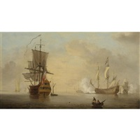 vessels becalmed off the coast by samuel scott