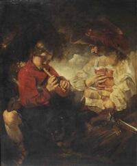 huntsman at rest making music in a forest by bernhard keil