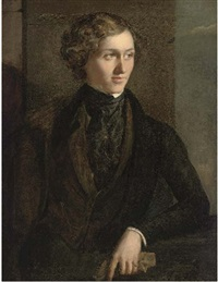 portrait of a gentleman (percy bysshe shelley?) in a dark coat and cravat, holding a glove in his left hand by george clint