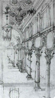view of the interior of a church by giovanni alberti