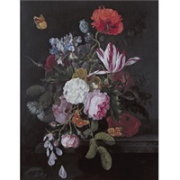 still life with peonies, roses, irises, poppies and a tulip with butterflies, a dragonfly and other insects on a ledge by cornelis kick