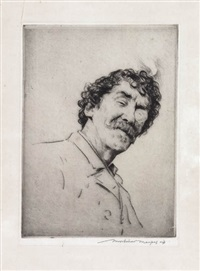 portrait of whistler with the monocle by mortimer luddington menpes