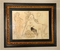 minotaur and lady with flute by byron browne