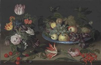 parrot tulips, an iris, snowbells, and other flowers in a glass vase, with apples, grapes and other fruit in a wan-li kaak dish... by johannes bosschaert
