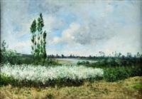 paysage au champs de fleurs by paul emmanuel péraire