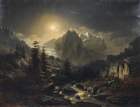 mountain landscape by night by jacob johann verreyt