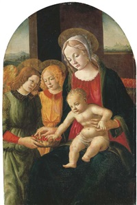 the madonna and child with angels, a landscape beyond by davide bigordi ghirlandajo