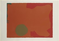 umber disc, red edge by patrick heron