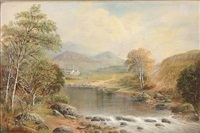 welsh landscape with two fishermen at a river by william henry mander