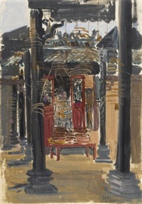 interior of a pagoda in cholon (+ carrying rice to the market, smaller; 2 works) by nguyen anh