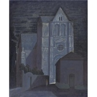 view of a church by night by john bradley storrs