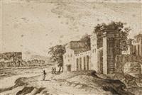 ruines antiques animées de personnages, un village à l'arrière-plan by gabriel perelle