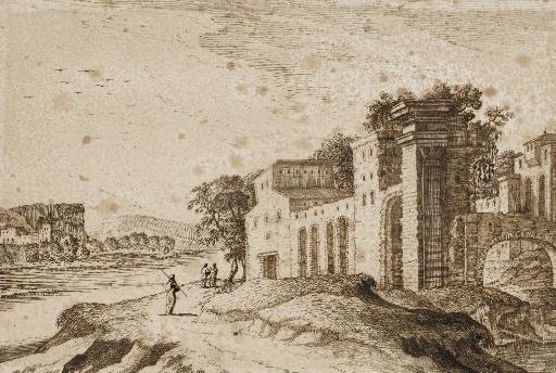 ruines antiques animées de personnages un village à larrière plan by gabriel perelle