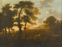 extensive landscape with figures by andrea locatelli