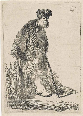man in a coat and fur cap leaning against a bank by rembrandt van rijn