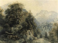 der hirschbichel gegen den steinberg bei berchtesgaden by josef hoeger