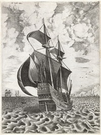 man of war seen half from the right (engraved by frans huys) by pieter brueghel the elder