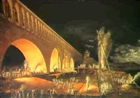 night view of the building of the bridge at canaro by lieutenant colonel jean sanucca