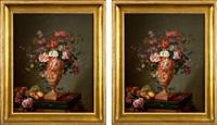 paire de nature-mortes aux bouquets de tulipes, jacinthes, roses, et petits papillons sur de riches entablements où sont posés des grappes de raisins et des pêches (pair) by gantelet