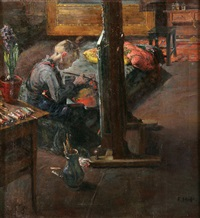 the young artist (portrait of hermann hass - the artist's grandson) by fritz hass